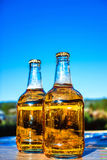 Beer on the background of the sky. Two bottles of beer standing on a blue sky background Stock Images