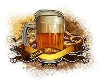 Beer background. Beer tankard decorated ribbons and grunge, this illustration may be useful as designer work Royalty Free Stock Image