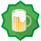 Beer badge illustration. With green background and drop shadow Stock Photo