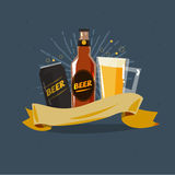 Beer badge label sticker design. bottle, can and glass of beer Stock Images