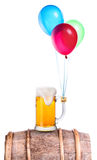 Beer with balloons Stock Images