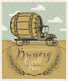 Beer banner with brewery truck car in a landscape. Vector banner for brewery and craft beer with a handwritten inscription and with a truck car with a big wooden Royalty Free Stock Photography
