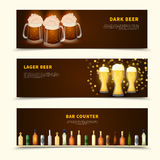 Beer Banners Set. Flat set of three horizontal banners with glasses of beer and bar counter full of beverages isolated on white background vector illustration Stock Images