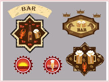 Beer bar logo. Set icons of beer bar on the grey background Royalty Free Stock Photography