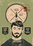Beer Bar For Men. Vintage grunge style beer bar poster. Vector illustration. Royalty Free Stock Images