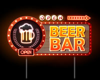 Beer bar Neon sign Royalty Free Stock Photos