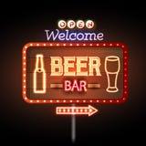 Beer bar Neon sign Stock Photo