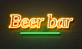 Beer bar neon sign Stock Images