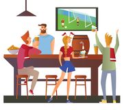 Beer bar - Restaurant. Football fans cheering for the team in a bar. Football match, bar with bartender, alcohol drink stock illustration
