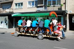 Beer bar on wheels on April 26, 2014, Vilnius Stock Image