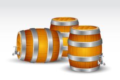 Beer Barrel. Illustration of drum with water tab on white background royalty free illustration