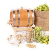 Beer barrel with beer glasses and hop Stock Photography