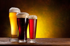 Beer barrel with beer glasses on a wooden table. royalty free stock photography