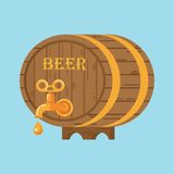 Beer barrel on blue. Flat vector cartoon illustration. Objects isolated on a white background Stock Illustration