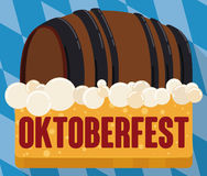 Beer Barrel Floating in Froth in Flat Button for Oktoberfest, Vector Illustration Stock Image