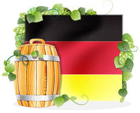 Beer barrel and German flag Royalty Free Stock Photos