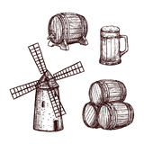 Beer barrel, glass and windmill sketch set Royalty Free Stock Photography