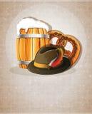 Beer barrel, hat and pretzel Royalty Free Stock Images