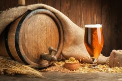 Beer barrel with hops and barley. On wooden background royalty free stock photo