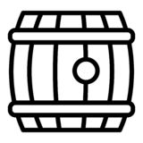 Beer barrel line icon. Wooden beer cask vector illustration isolated on white. Barrel roll of beer outline style design royalty free illustration
