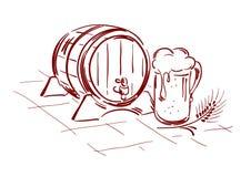 Beer barrel and mug. Graphic illustration - beer barrel and mug stock illustration