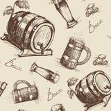 Beer Barrel Seamless Pattern Oktoberfest Festival Holiday Decoration Banner. Vector Illustration Stock Image