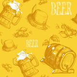 Beer Barrel Seamless Pattern Oktoberfest Festival Holiday Decoration Banner. Vector Illustration Royalty Free Stock Images