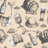 Beer Barrel Seamless Pattern Oktoberfest Festival Holiday Decoration Banner. Vector Illustration Royalty Free Stock Photo
