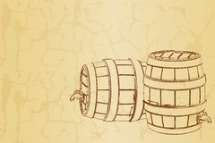 Beer Barrel on Vintage Background Stock Photography
