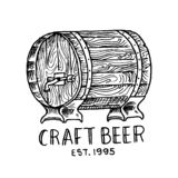 Beer Barrel in vintage style. Alcoholic Label with calligraphic elements. Classic American badge for poster banner. Cheers toast. Hand drawn engraved sketch stock illustration