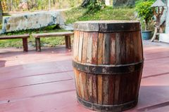 The beer barrel on floor Royalty Free Stock Photography