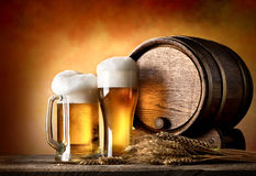 Beer and barrel Stock Image