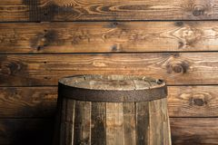 Beer. Barrel whiskey wood room table display royalty free stock image