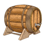Beer barrel on white background. Colorful sketch of barrel with beer. Vintage style illustration of wooden barrel. Hand drawing of beer barrel. Vector stock illustration
