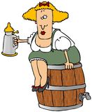 Beer Barrel Woman. This illustration depicts a Bavarian woman sitting on a beer keg and holding a stein Stock Images