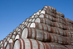 Beer Barrels. A stack of older beer barrels resting on top of each other Royalty Free Stock Photo