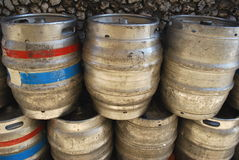 Beer barrels. Group of beer barrels used for transport Stock Photo