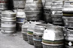 Beer barrels. Metal beer barrels at the brewery Royalty Free Stock Image
