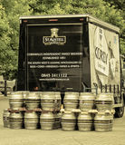 Beer barrels. Bristol, UK - July 16, 2016: A truck of St.Austell (Cornwall's family brewers) is delivering beer barrels to a festival Stock Photos