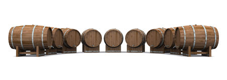 Beer barrels round and round 01. A circle of beer barrels on white background royalty free illustration