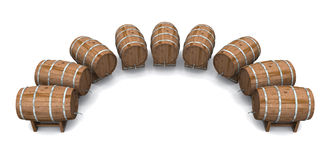 Beer barrels round and round 02. A circle of beer barrels on white background royalty free illustration
