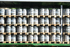 Beer barrels in a stack royalty free stock image