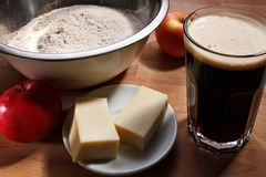 Beer batter making with dark beer Stock Images