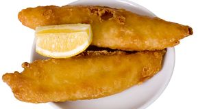 Beer Battered Fish And Lemon Royalty Free Stock Image