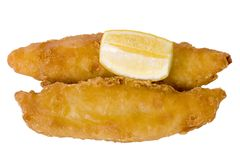 Beer Battered Fish And Lemon Stock Photo
