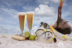 Beer at the beach Royalty Free Stock Photo