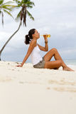 Beer on beach Royalty Free Stock Photos