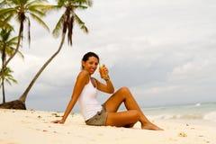 Beer on beach Stock Photos