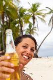 Beer on beach Royalty Free Stock Photos