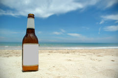 Beer and beach (blank) stock photography